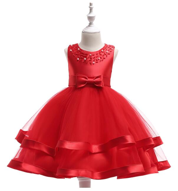 Girl's Princess Formal Dresses 2019 Summer Pearl Satin Gauze Tiered Tutu Dress Kids Bow CHildren's Christmas Wedding Dress Red