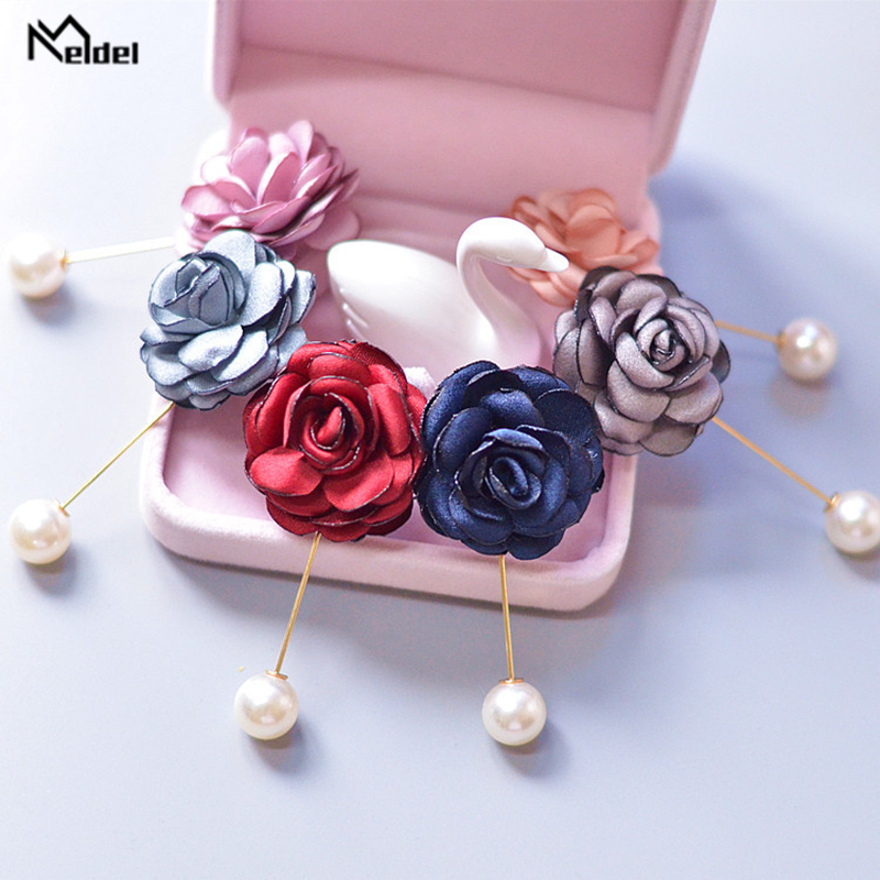 Meldel Corsage Groom Wedding Boutonniere Rose Flowers Rhinestone Fake Pearl Brooch Party Prom Corsage Lapel Pin Badge Buttonhole