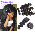 Fashion Plus Brazilian Body Wave with Closure 3PC Weft&1PC Closure Soft Brazilian Virgin Hair with Closure Human Hair Bundles