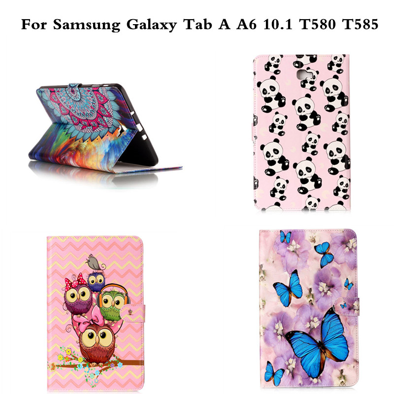 For Samsung Galaxy Tab A A6 10.1 inch T585C T585 T580 T580N Case Butterfly OWI Panda PU Leather Stand Protective Tablet Cover  for samsung galaxy tab a a6 10 1 2016 t585 t580 t580n case girl bling butterfly pu leather book stand protective tablet cover