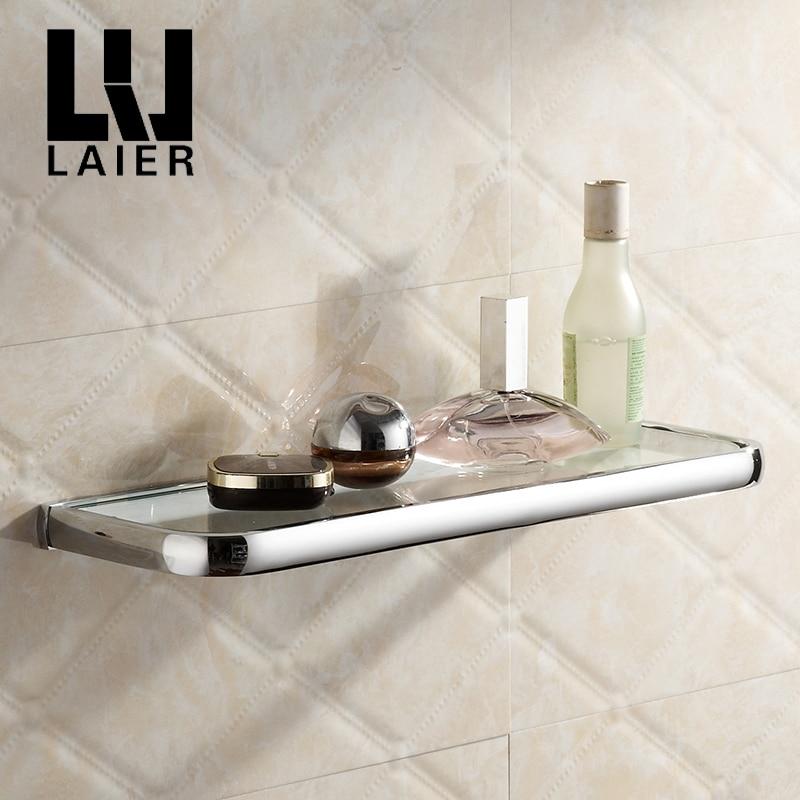 Chrome Bathroom glass shelf copper corner Storage Shelf Shower ...