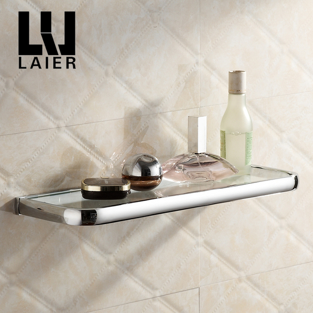 Chrome Bathroom Glass Shelf Copper Corner Storage Shelf Shower Shampoo Soap Shelf  Bathroom Accessories