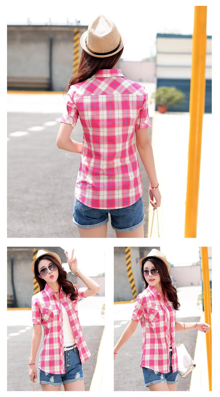 HTB1Ivj.JFXXXXaRXXXXq6xXFXXXM - New 2017 Summer Style Plaid Print Short Sleeve Shirts Women