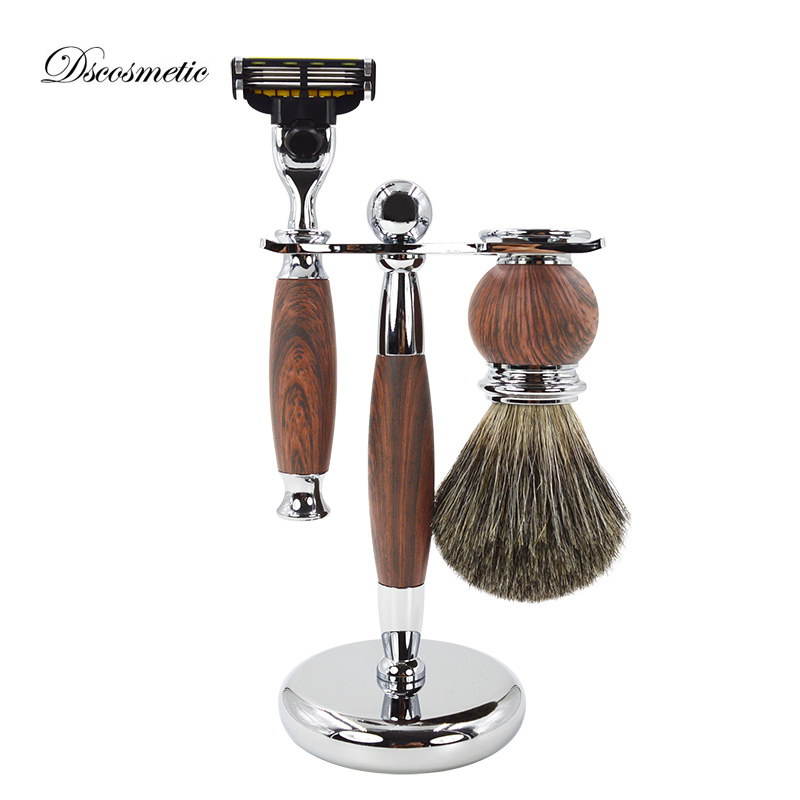 DSCOSMETIC shaving brush set with badger hair shaving brush safety shaving razor and shaving brush holder stand titan razor brush shaving brush with wooden handle best badger hair brush