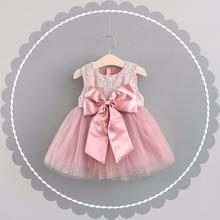 QAZIQILAND Summer Baby Girl Dress 1 Tahun Birthday Party Dress Pink Tanpa lengan Busana Puteri Tutu Pakaian Untuk Bayi Pakaian Batismo