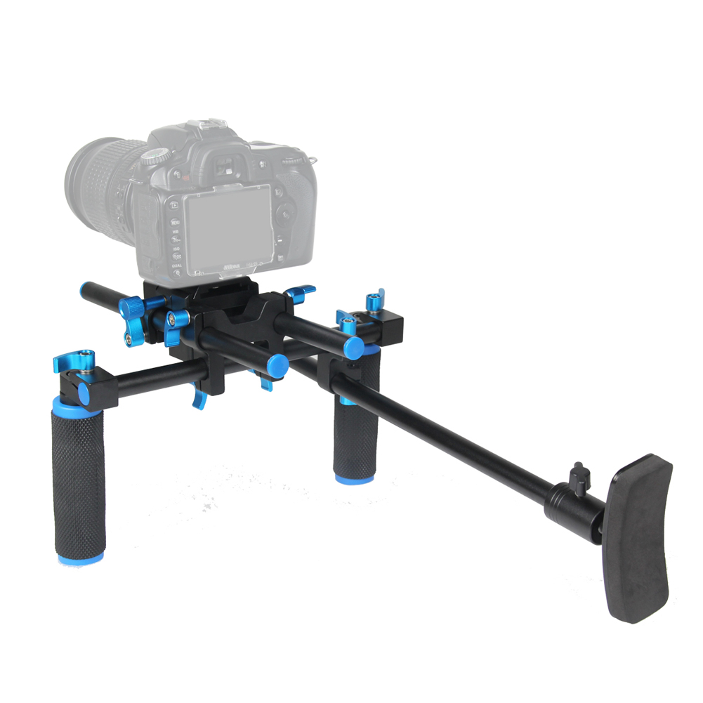 F14123 Commlite CS-V1Aluminum Alloy Handgrip Holder DSLR Shoulder Mount Rig Camera Stabilizer Dslr Rig Easy For Shooting Camera ylg0102h dslr shoulder mount support rig with camera camcorder mount slider shoulder lift set double hand handgrip holder set