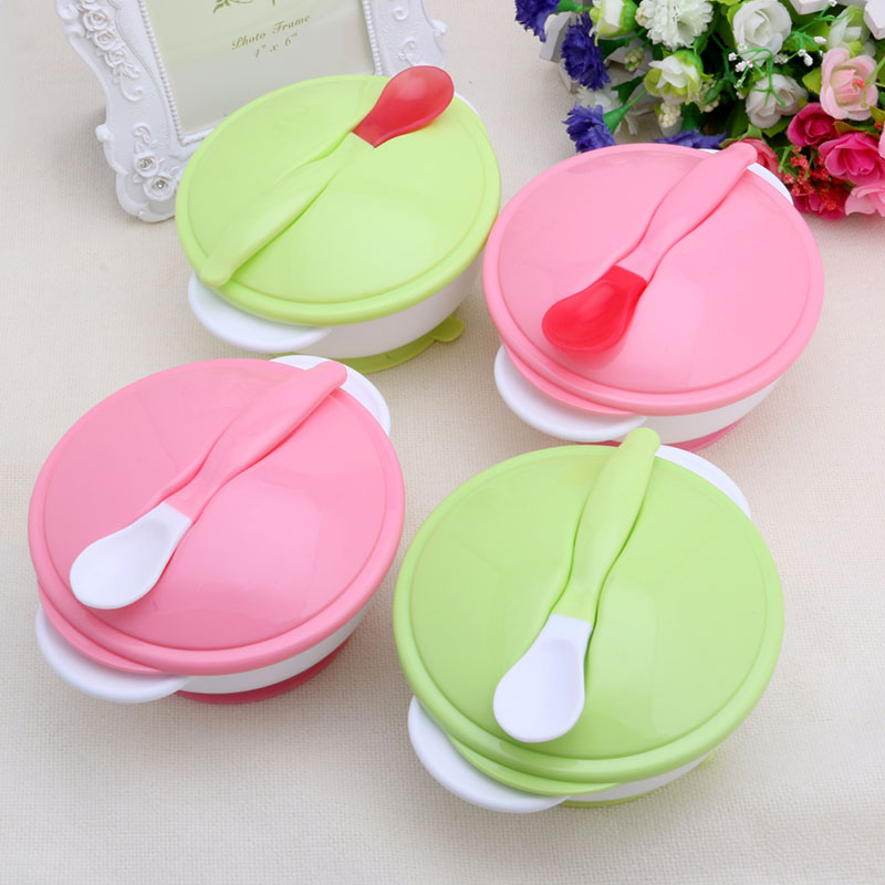 More Safe Baby Feeding Training Bowl Temperature Sensing Spoon Suction Cup Tableware Set
