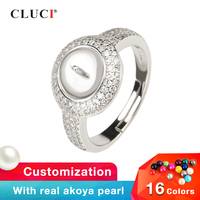 CLUCI 925 Sterling Silver Zircon Pearl Ring Mounting Jewelry Silver 925 Adjustable Open Rings for Women Jewelry