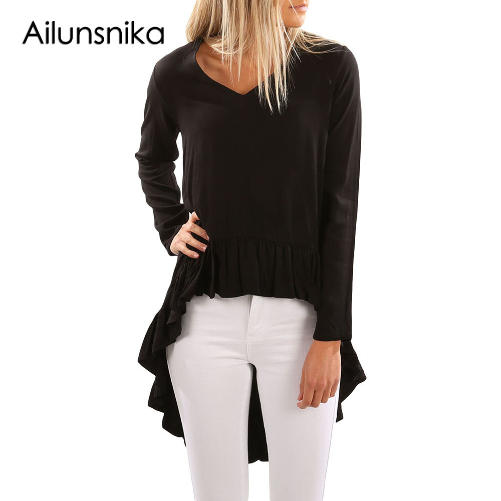 Ailunsnika Women V Neck Longer Frilled Hem Back Top Autumn Long Sleeve Irregular Long Blouse Streetwear Shirts Tops DL250300