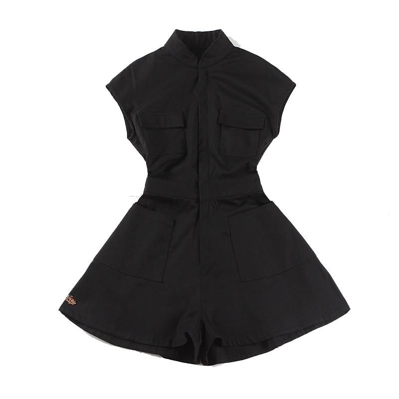 Le palais 빈티지 세련된 bf playsuits 여성 슬림 하이 라이즈 스트레치 허리 포켓 pleated short jumpsuit 2019 summer-에서팬티 & 카프리스부터 여성 의류 의  그룹 1