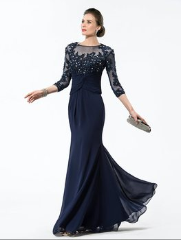 New Elegant Navy Blue 3/4 Length Sleeve Appliques Chiffon Mother of the Bride Dresses 2019 Wedding Guest Gown Custom Made
