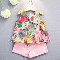 Los Niños al por menor Ropa de Las Muchachas de Impresión Bowknot Sin Mangas Top + Shorts 2 unids Ropa Conjuntos Nueva Moda de Algodón para Niños ropa