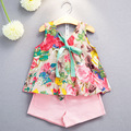 Retail Kids Girls Clothes Set Printing Bowknot Sleeveless Top + Shorts 2pcs Clothing Sets New Fashion Cotton Children's Clothing