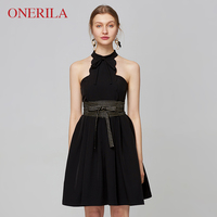 ONERILA 2018 New Unique Design Sexy A Line Sleeveless Halter Neck Black Dresses with Belt Bow Women Party Vestidos Short Dress
