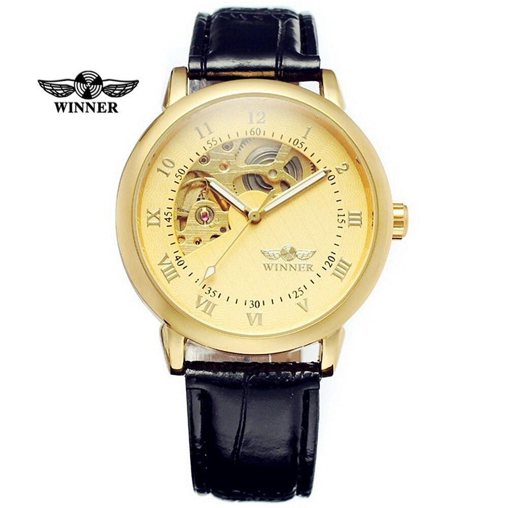 New Fashion Gold Watches Men Luxury Brand WINNER Hollow Skeleton Roman/Arabic Dial Leather Strap Mechanical Wristwatch