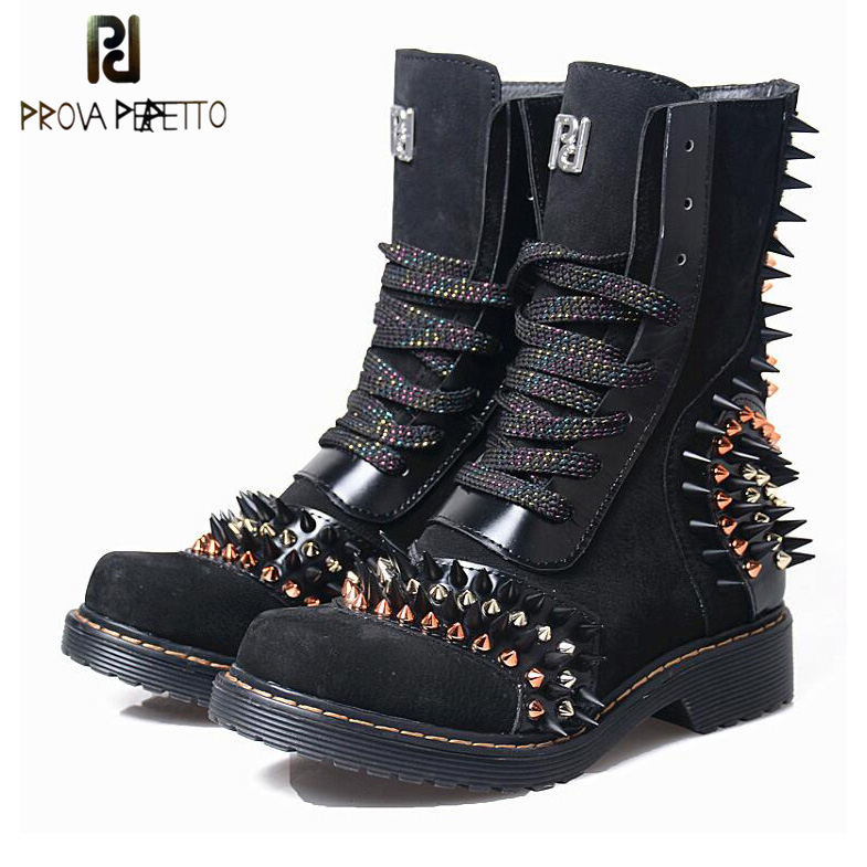 Prova Perfetto Genuine Leather Rivet Studded Women's Martin Boots Round Toe Low Heel Autumn Winter Motorcycle Short Boots prova perfetto red color punk style genuine leather thick bottom woman mid boots solid round toe low heel rivet martin boots