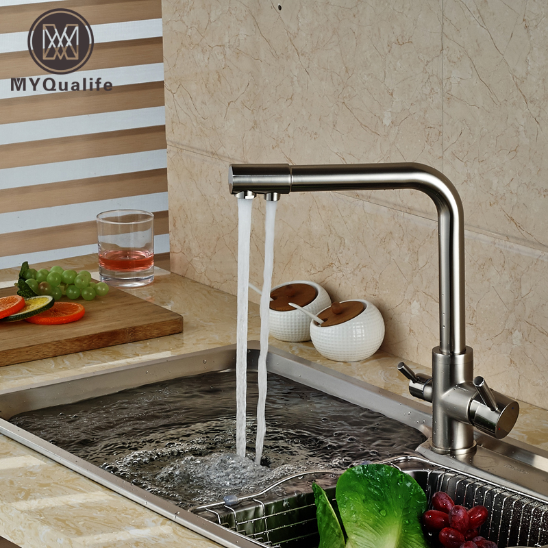 brand new kitchen sink faucet pure water filter drink mixer tap dual handles two spout brushed. Interior Design Ideas. Home Design Ideas