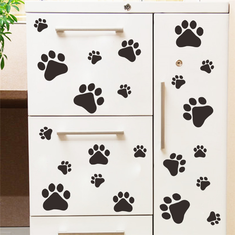 Cute Funny Dog Cat Paw Print Kids Room Home Decal Wall Stickers Diy Cabinet Door Decor