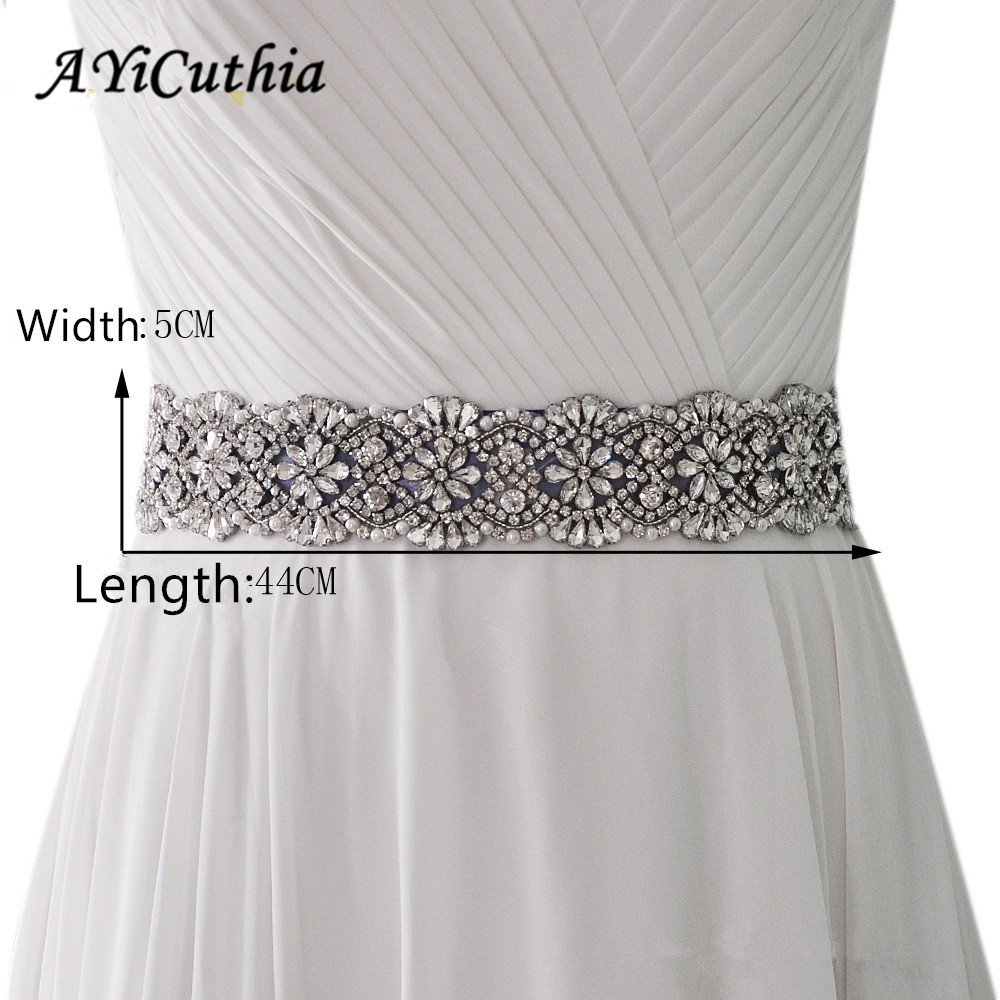 AYiCuthia Wedding Belts Crystal 17inch Rhinestones Evening Party Gown Dresses Accessories Bride Waistband Bridal Sashes Belt Y22