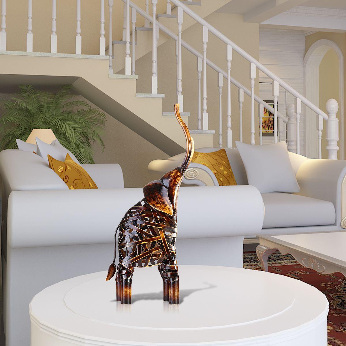 Métal Tissage Oeuvres D'éléphant de Fer À La Main Éléphant Sculpture Décoration de La Maison Artisanat Animal Sculpture Décorative Travail Manuel