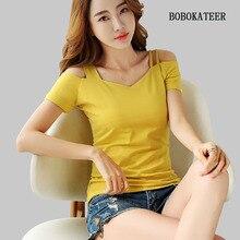 BOBOKATEER black haut femme tee shirt white t women camiseta mujer plus size short sleeve tshirt loose t-shirt