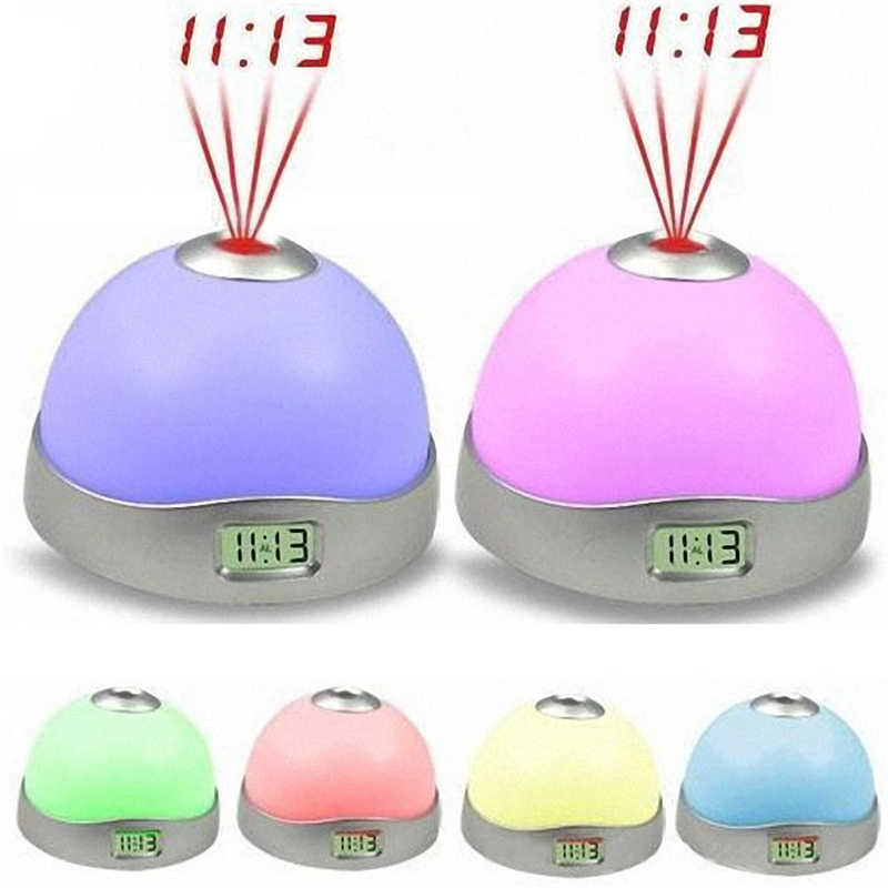 HOME decor компактный новый 7 цветов светодио дный изменение Звезда Будильник Небольшой Bedvintage часы Night Магия света проектора 10 октября