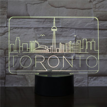 Usb 3d Led Night Light City Toronto Atmosphere Lamp Decoration RGB Kids Baby Gift Famous Buildings Table Lamp Bedside neon india taj mahal usb 3d led night light veilleuse lamp decoration rgb kids baby gift famous buildings table lamp bedside neon