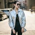 INU015 Новый Дизайн Осень 2016 Мода Уличная Свободные Повседневная С Длинным Рукавом PU Кожаная Куртка Женщин