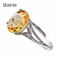 BAIHE 8x10mm Oval Natural Citrine Diamonds Ring Solid 10k White Gold Ring Women Engagement Wedding Party Fine Jewelry Gift Ring
