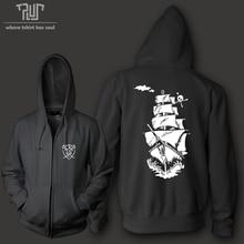 cool design pirate ship tattoo customized men unisex zip up hoodie 800gram weight organic cotton fleece combine Free Shipping