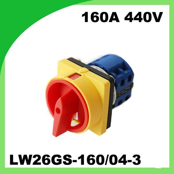 купить 160A 440V LW26GS-160 / 04-3 Rotary universal Changeover Control knob switch по цене 3263.88 рублей