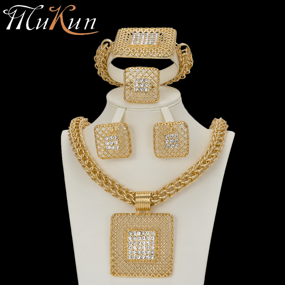 MuKun Fashion turkish jewelry set for women Big necklace choker african beads jewelry sets Classic necklace/earrings/bracelet