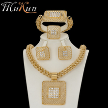 MuKun Fashion turkish jewelry set for women Big necklace choker african beads jewelry sets Classic necklace/earrings/bracelet недорого