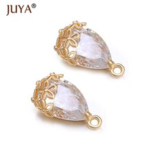 Luxury Crystal Water Drop charm pendants for diy earrings necklace Materials Pure Copper Metal Plated KC Gold Earrings Findings(China)