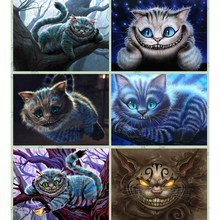 5d diy pintura diamante pintado gato bonito na árvore broca cheia mosaico diamante bordado ponto cruz artesanato decoração para casa presente