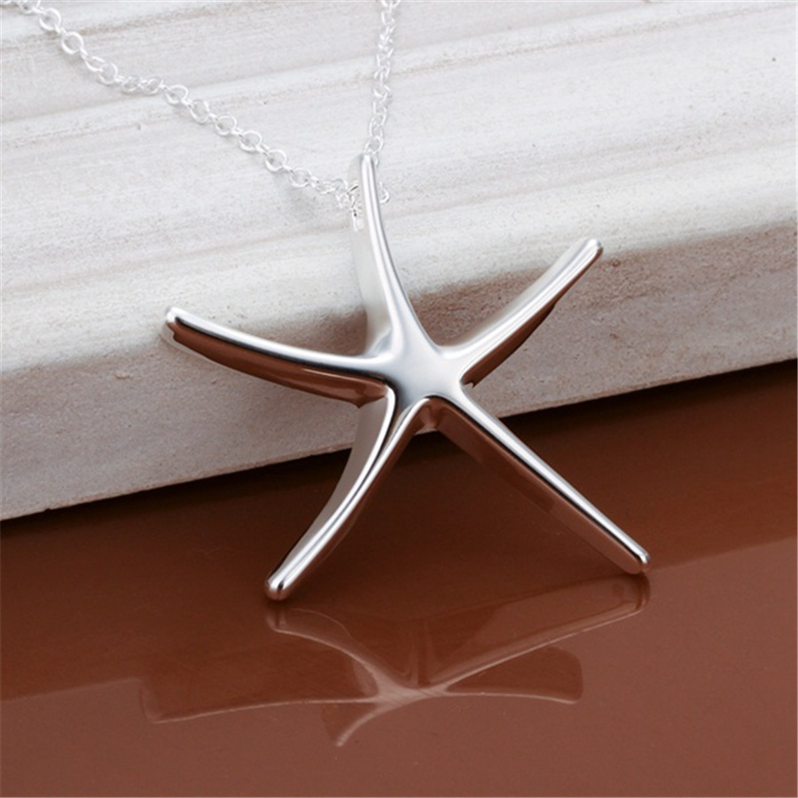 P027 Promotions Free shipping Beautiful fashion Elegant Plated silver charm Starfish Noble pendant pretty Girl Necklace jewelry