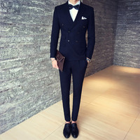 2018 New Mix Match Stylish Double Breasted Male men Suit Green/Brown/Black Men Dinner Party Prom mens Suits Groom Wedding Tuxed