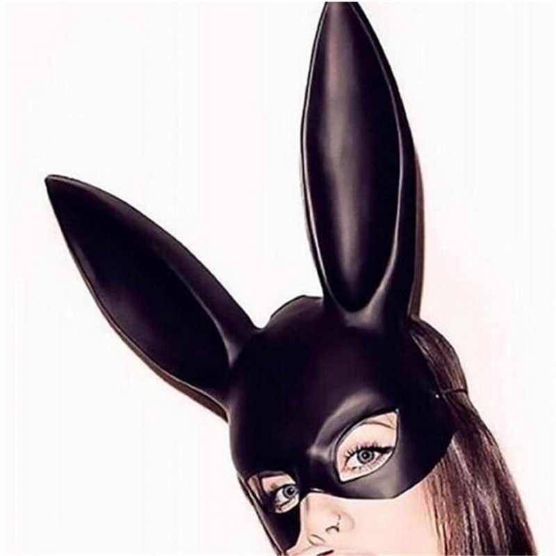 Detail Feedback Questions about Cute Bunny Mask Halloween Masquerade Dress  Up Mask Hot Sale Long Rabbit Ear Masks Black White Upper Half Face Ball  Party ...