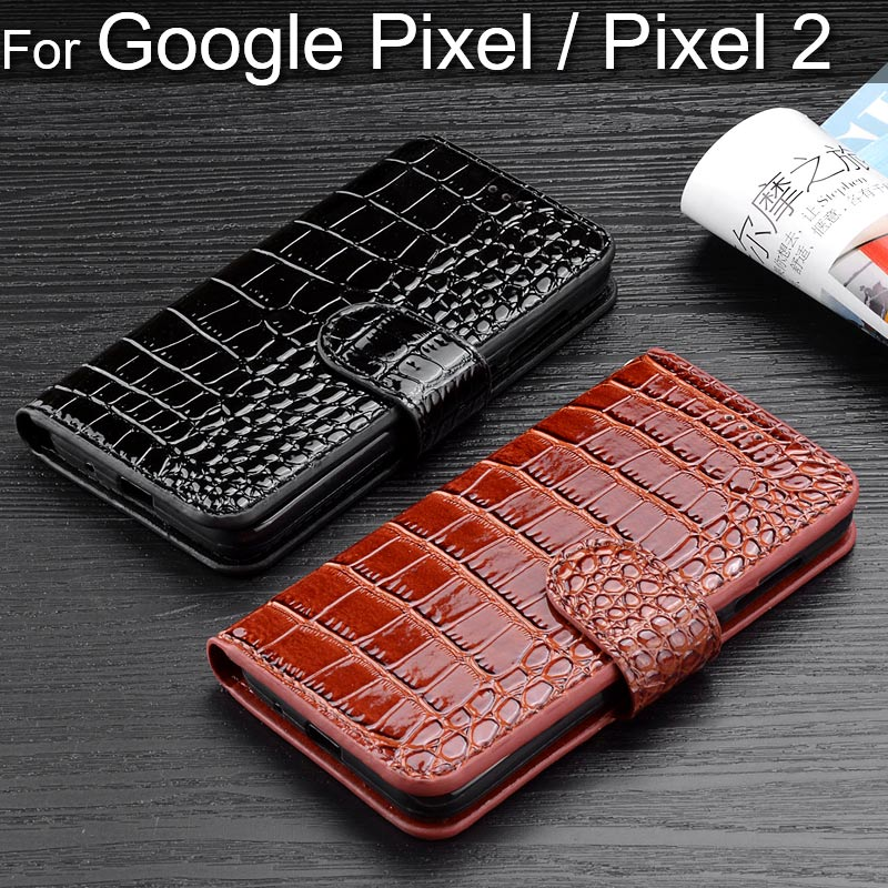 Flip Cover Leather Wallet Phone Case For Google Pixel 2 Crocodile Bright Charming Design Coque For Google Pixel 2 Funda Capa