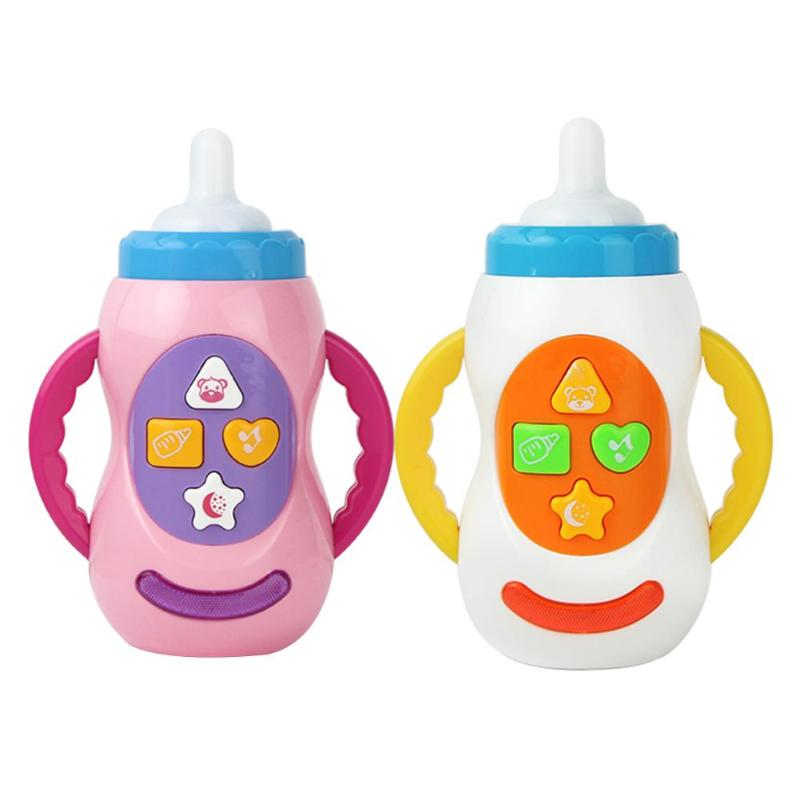 Musical Instrument Infant Baby Simulation Feeding Bottle Shape Musical Sound Safety Teether Children Educational Toys