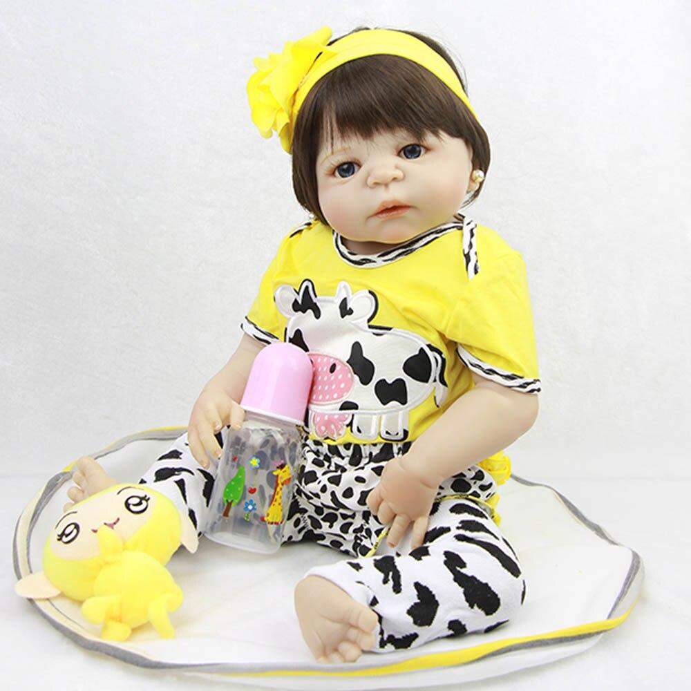 23 ''реалистичные Bebes Reborn Детские куклы белая кожа Младенцы Куклы полный виниловый Корпус так по-настоящему девочка модель куклы для малыша и...