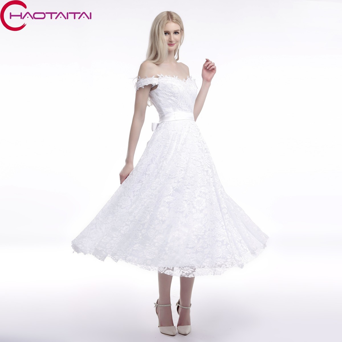Hochzeitskleid Billig Spitze Vintage 2018 Sleeveless Short Eine ...