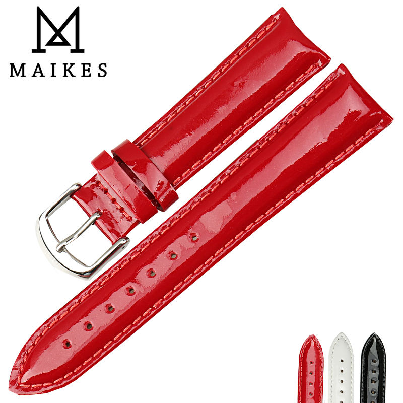 MAIKES New 12 14 16 18 20mm <font><b>HQ</b></font> Red Genuine Leather <font><b>Watch</b></font> Band Fashion Watchband Shine Noble Women Patent leather <font><b>Watch</b></font> Strap image