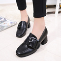 New Fashion Female Med Heels Square Toe Slip On Dress Women Pumps Buckle Shoes For Woman Black Green