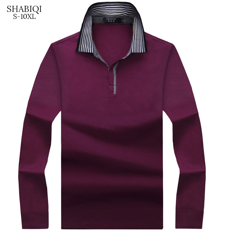 Keep warm New Fashion Men   Polo   Shirt Solid Color Loose   Polo   Men Long Sleeve Mercerized Cotton Casual   Polos   Shirt Mens S-10XL