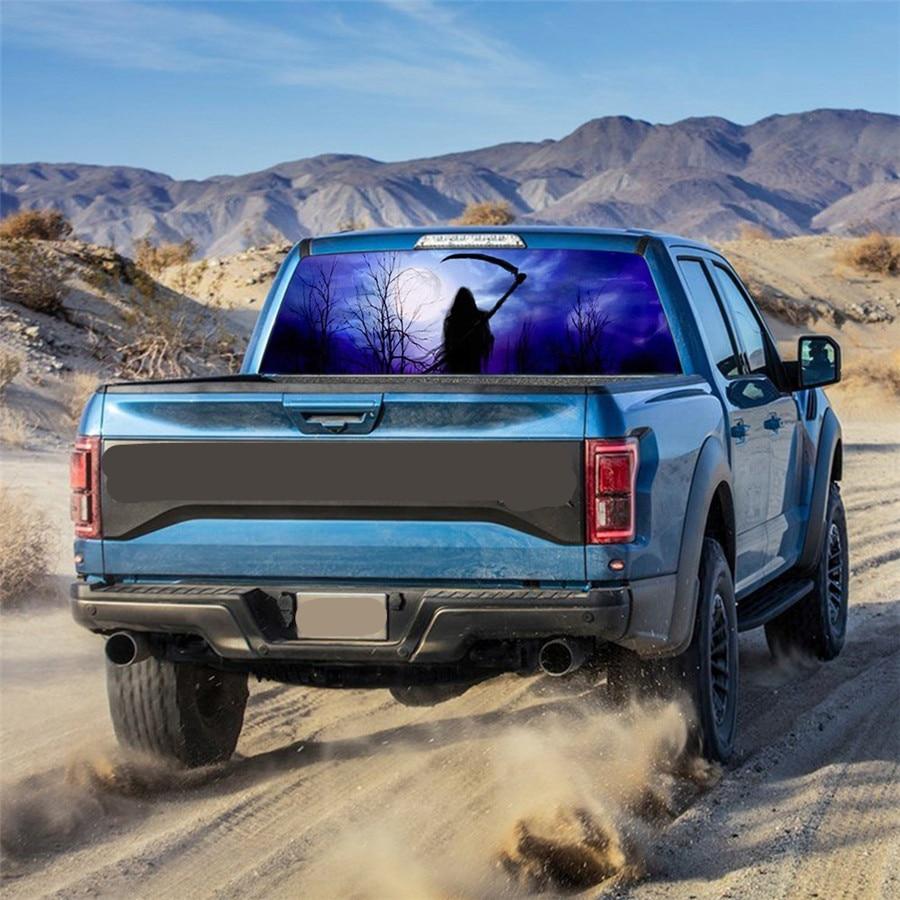 165x56cm Auto Rear Window Graphic Decal Grim Reaper horror Forest Car Sticker for Truck suv Jeep