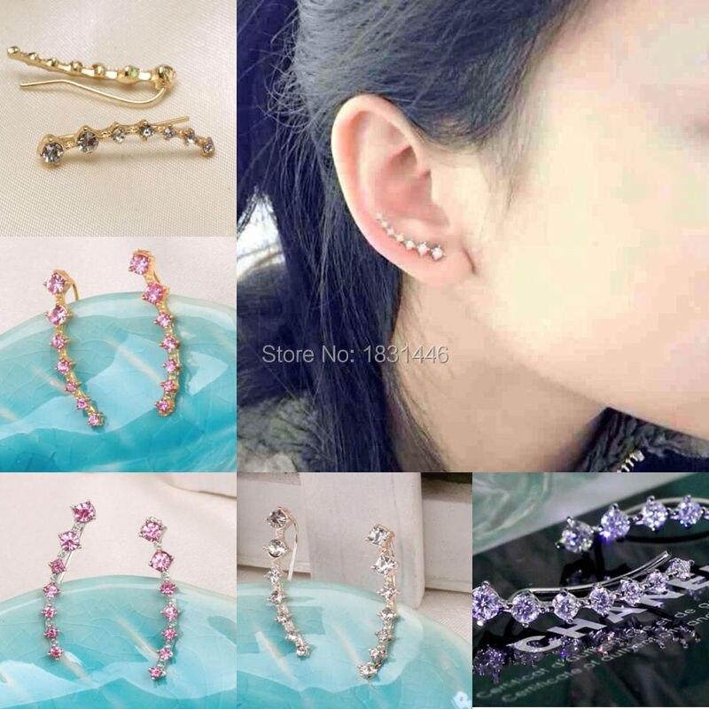 4 Color Punk Design Earring font b Crystal b font Earrings Summer Style Silver Gold Ear
