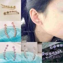4 Color Punk Design Earring Crystal Earrings Summer Style Silver/Gold  Ear Cuff Wrap Piercing Clip Earrings Jewelry For Women
