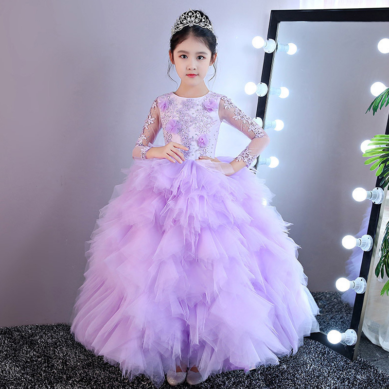 Luxury Ball Gown Princess Dress Birthday Tulle Floor Length Flower Girl Dresses for Wedding Cloud Holy Communion Dress A62 блуза marc o'polo 106242699 a62
