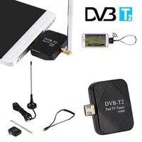 Mayitr 1pc DVB T2 Micro USB Dongle Digital HD TV Tuner Receiver 2 Antenna Kits For